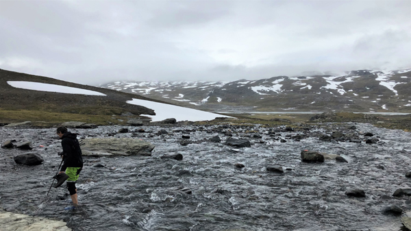 Crossing Kungsleden river